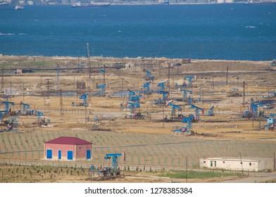 Oil industry on James Bond Oil Field, Azerbaijan