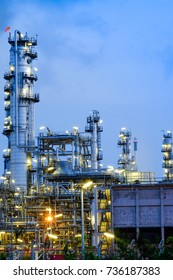 Oil Industry Refinery factory, Petroleum, petrochemical plant at Night