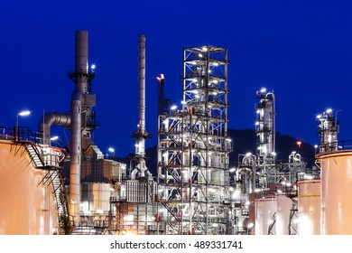 Oil Industry Refinery factory at Sunset, Petroleum, petrochemical plant