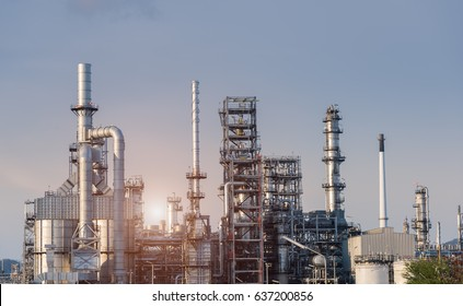 Oil Industry Refinery factory at Sunset, petrochemical plant, Petroleum