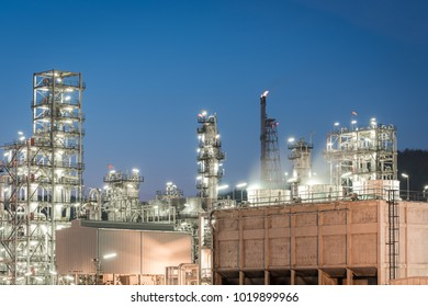Oil Industry Refinery factory at twilight, petrochemical, Petroleum plant