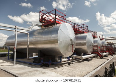 Oil industry. Oil Storage Tanks for petroleum products at the refinery.