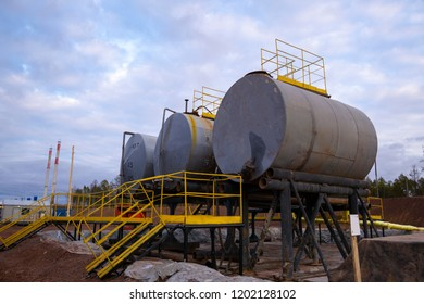 Oil industry. Oil Storage Tanks for petroleum products at the refinery. Septic tanks  will bring down the use of underground water treatment plant.