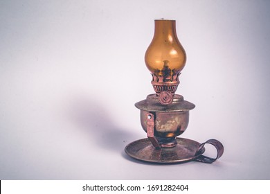 Oil lamp miniature small brass and yellow glass