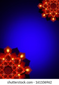 oil lamps with diwali diya elements over dark blue background