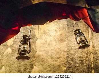 Oil lamps inside of a Sami tent of Lappish people in Finland. Copy space for text