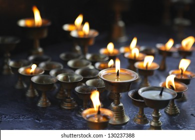Oil lamps in the temple, Kathmandu, Nepal