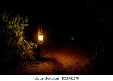 Oil Lantern in Luxury Safari Camp at Night