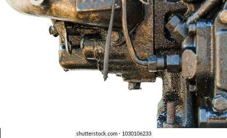 oil leak form the diesel engine  because lack of maintenance on white background