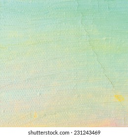Oil paint background, bright ultramarine blue yellow, pink, turquoise, large brush strokes painting detailed textured pastel colors macro closeup, horizontal texture pattern, old aged scratched canvas