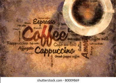 Oil paint draw coffee picture