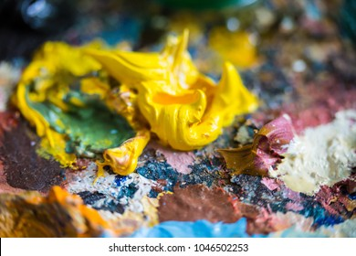 Oil paint a macro picture. Colored abstract background.