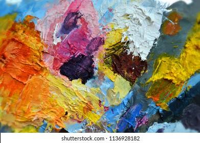 Oil paint palette. Multicolor palette. Oil paints. Paint strokes and mixes. Paint blending.