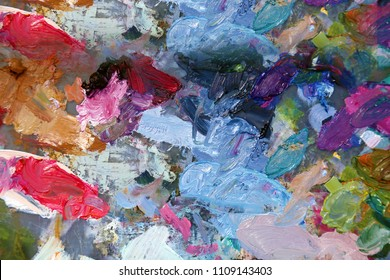 Oil Paint Palette. Paint Palette with various colors of oil paint.