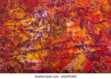 Oil paint red yellow abstract background. Palette knife paint texture. Art concept.
