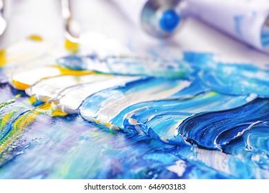 Oil paint smears, closeup
