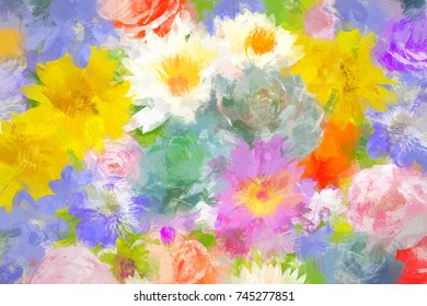 oil paint style of flower blossom, digital painting