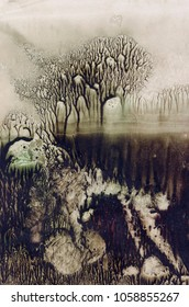 Oil paint texture. Abstract background. Monotype technique. Cold forest. Foggy park. Modern art. Cover design concept.
