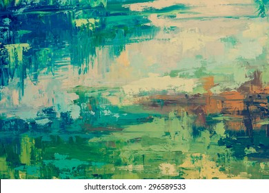Oil paint texture. Grunge green  background. Fragment of artwork