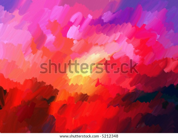 Oil Painted Sunset Background