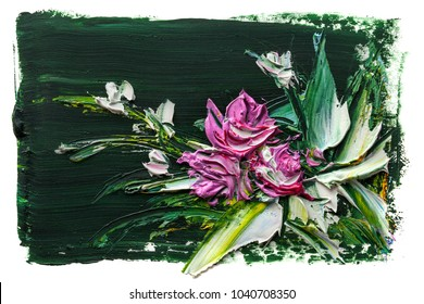 Oil painting a bouquet of flowers . Impressionist style.On a white background.