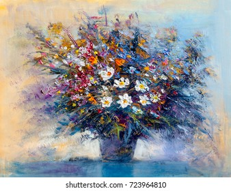 Oil painting a bouquet of flowers . Impressionist style.
