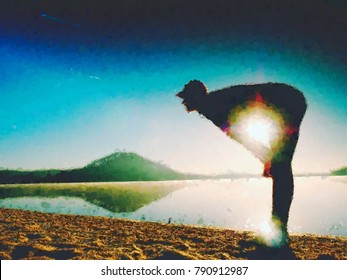 Oil painting, brush strokes. Stretching after jogging. Middle age sports man do stretching pose and deep breatch. Outdoor training at offshore,