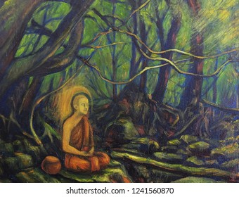 Oil Painting Buddhist monk practicing meditation in the jungle
