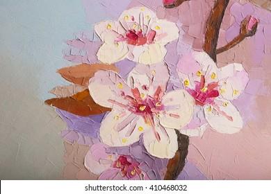 Oil painting Cherry Blossom Flowers. Sakura