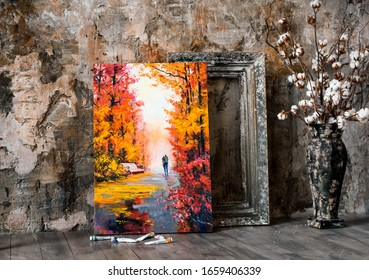 An oil painting of a couple walking through an autumn forest, framed against a gray wall