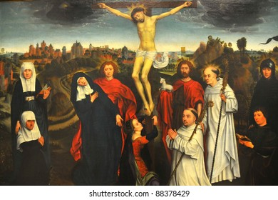 Oil painting of the crucifixion by the flemish master Hans Memling
