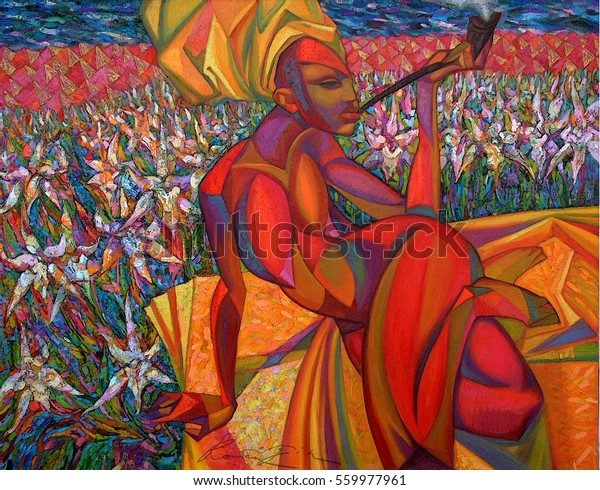 Oil Painting Female Figure Abstract Artist Stock Photo Edit
