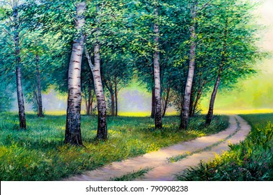 Oil painting  forest landscape, beautiful solar road in the woods on canvas. Sunny summer in birch forest.