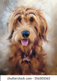 oil painting of golden dog