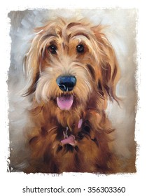 oil painting of golden dog torn edges