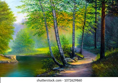 Oil painting landscape , colorful summer forest, beautiful river.