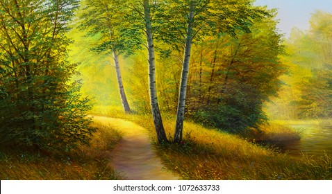 Oil painting landscape, colorful summer forest, beautiful river .