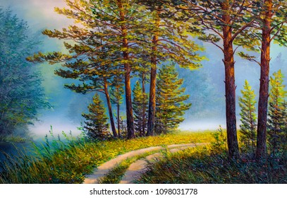 Oil painting landscape , colorful summer forest.