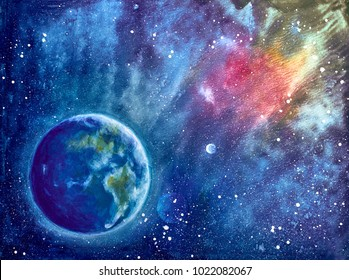 oil painting landscape - earth against the background of space