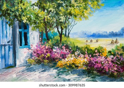 oil painting landscape - garden near the house, colorful flowers, summer forest