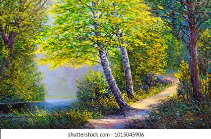 Oil painting landscape, river in the summer  forest , afternoon