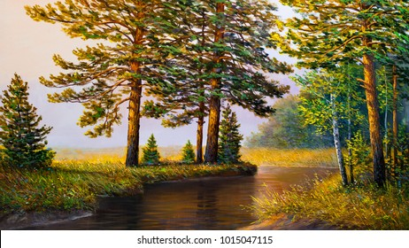 Oil painting landscape, river in the summer  forest , Morning fog.