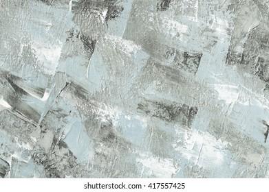Oil painting light blue background. Palette knife texture. Art concept.