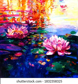 Oil Painting of lilies in the water. Modern art.