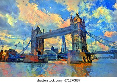 oil painting london tower bridge