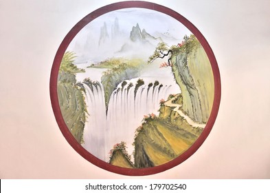 Oil painting of the mountain and waterfalls landscape on the wall