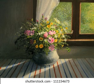 An oil painting on canvas of a bouquet of colorful field flowers, caressed by a sunbeam passing through the window warming the interior of the room, a still life artwork on a floral theme.