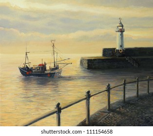 An oil painting on canvas of a sunrise landscape with a fishing boat leaving the port and an old lighthouse in Mevagissey, United Kingdom at early morning.