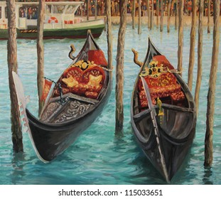 An oil painting on canvas of Two Venetian Gondolas, famous boats waiting for tourists near the popular Rialto Bridge on Grand canal in Venice, Italy.
