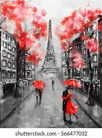 Oil Painting Paris European City Landscape France Wallpaper Eiffel Tower